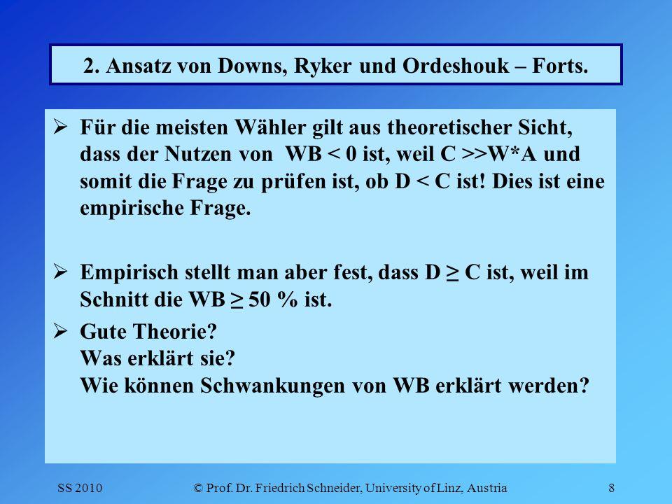 SS 2010© Prof. Dr. Friedrich Schneider, University of Linz, Austria8 2.