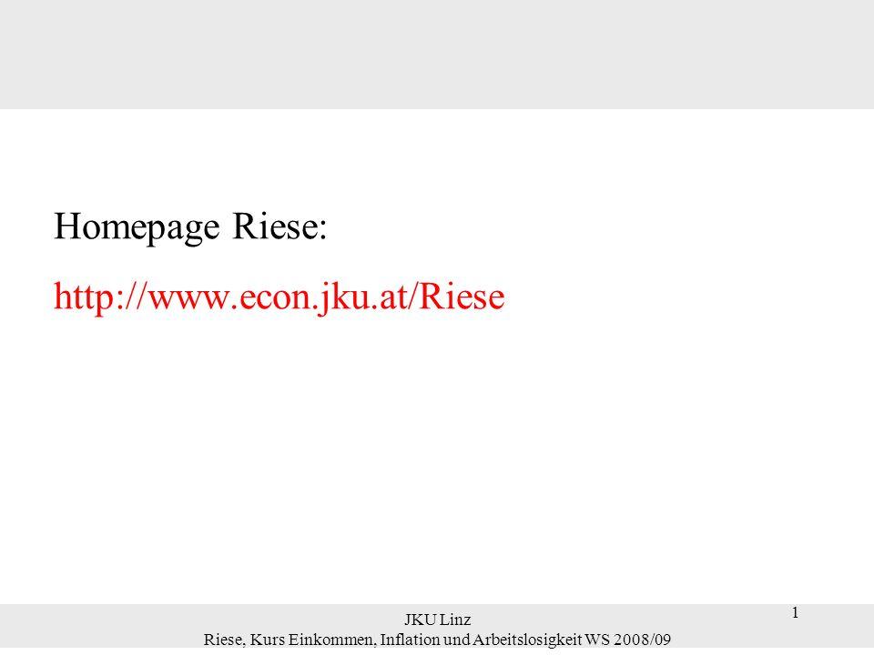 1 JKU Linz Riese, Kurs Einkommen, Inflation und Arbeitslosigkeit WS 2008/09 1 Homepage Riese: http://www.econ.jku.at/Riese