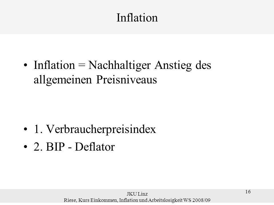16 JKU Linz Riese, Kurs Einkommen, Inflation und Arbeitslosigkeit WS 2008/09 16 Inflation Inflation = Nachhaltiger Anstieg des allgemeinen Preisniveau