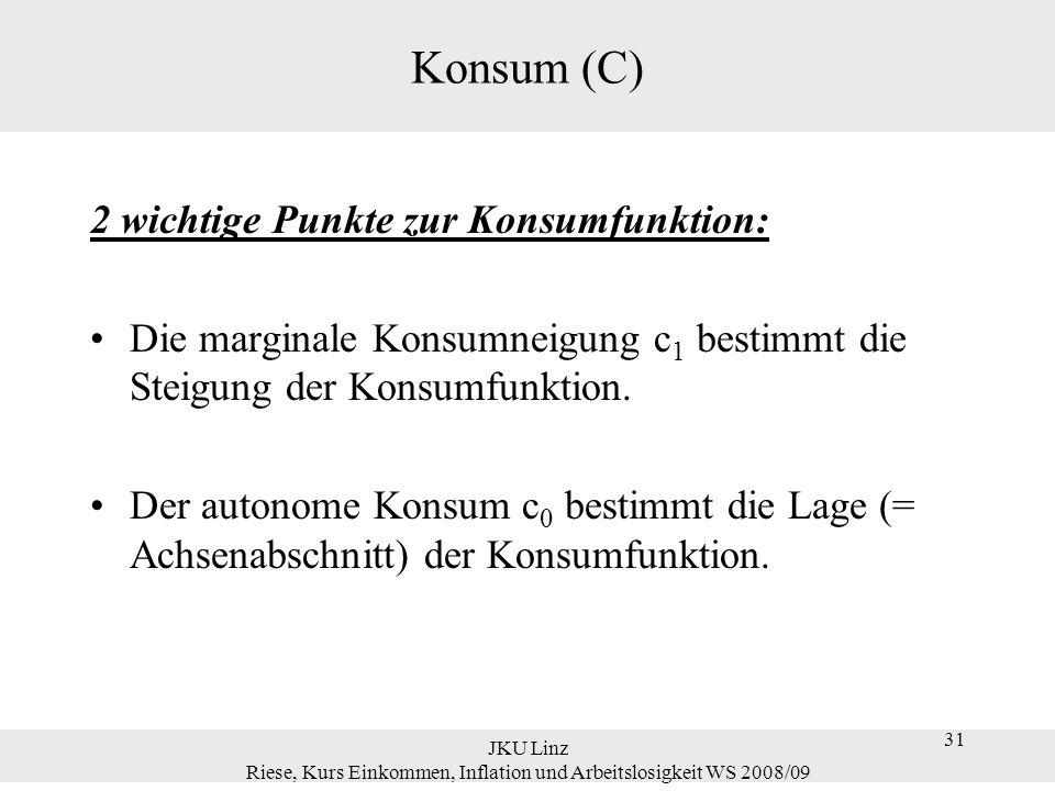 31 JKU Linz Riese, Kurs Einkommen, Inflation und Arbeitslosigkeit WS 2008/09 31 Konsum (C) 2 wichtige Punkte zur Konsumfunktion: Die marginale Konsumn