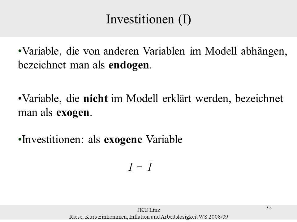 32 JKU Linz Riese, Kurs Einkommen, Inflation und Arbeitslosigkeit WS 2008/09 32 Investitionen (I) Variable, die von anderen Variablen im Modell abhäng