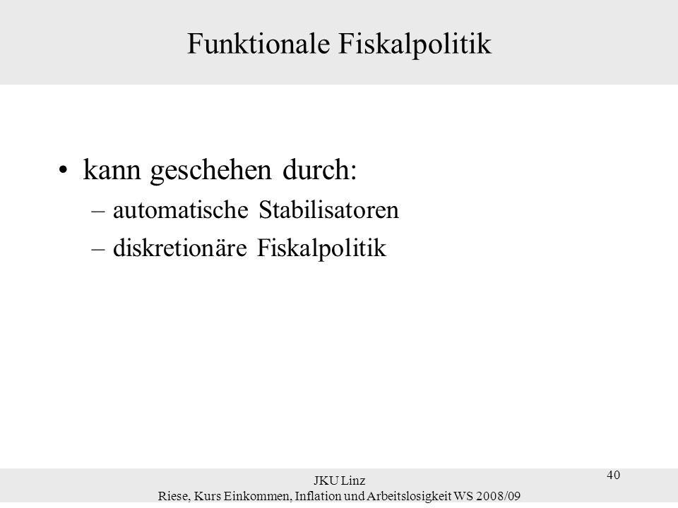40 JKU Linz Riese, Kurs Einkommen, Inflation und Arbeitslosigkeit WS 2008/09 40 Funktionale Fiskalpolitik kann geschehen durch: –automatische Stabilis