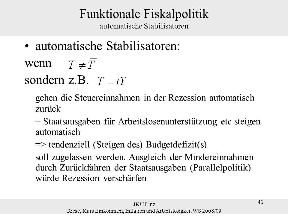 41 JKU Linz Riese, Kurs Einkommen, Inflation und Arbeitslosigkeit WS 2008/09 41 Funktionale Fiskalpolitik automatische Stabilisatoren automatische Sta
