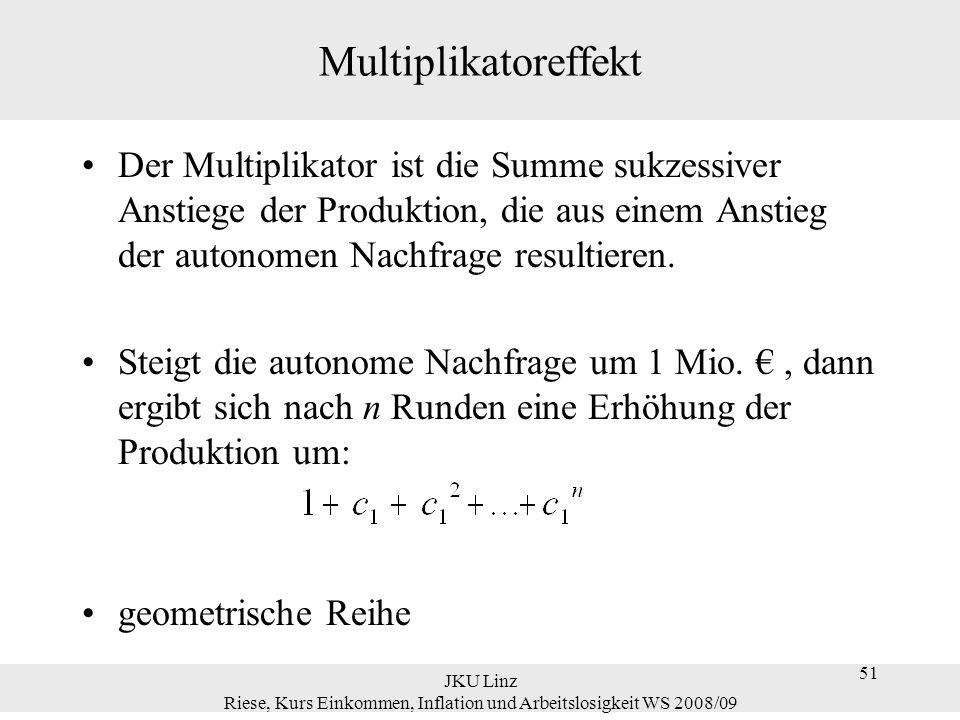51 JKU Linz Riese, Kurs Einkommen, Inflation und Arbeitslosigkeit WS 2008/09 51 Multiplikatoreffekt Der Multiplikator ist die Summe sukzessiver Anstie