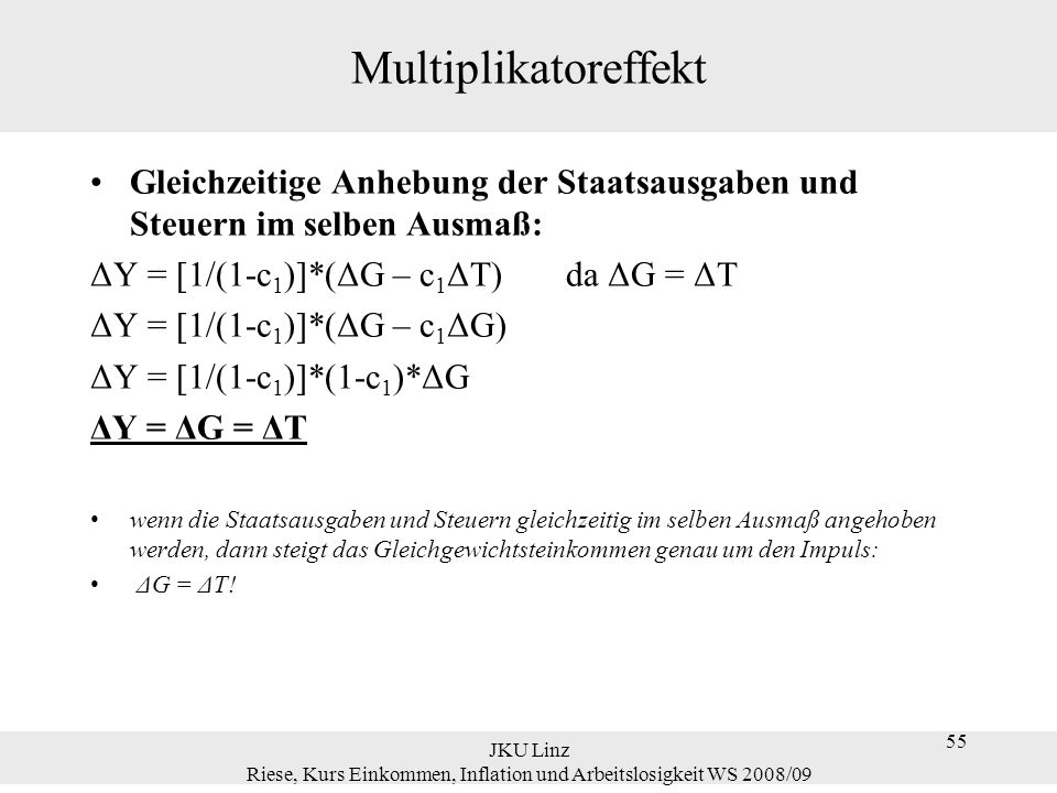 55 JKU Linz Riese, Kurs Einkommen, Inflation und Arbeitslosigkeit WS 2008/09 55 Multiplikatoreffekt Gleichzeitige Anhebung der Staatsausgaben und Steu