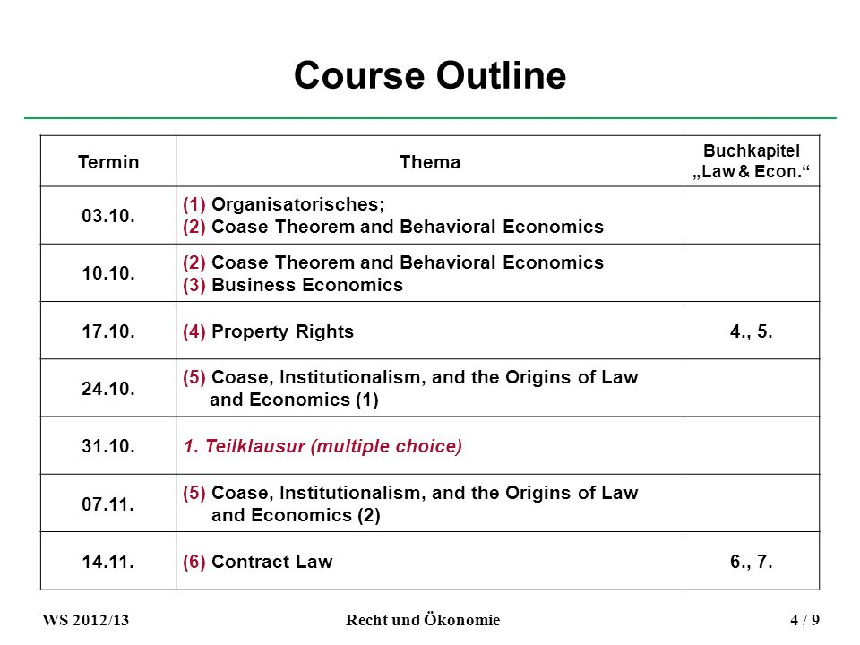 Course Outline TerminThema Buchkapitel Law & Econ.