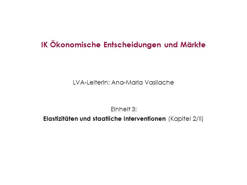IK Ökonomische Entscheidungen und Märkte LVA-Leiterin: Ana-Maria Vasilache Einheit 3: Elastizitäten und staatliche Interventionen (Kapitel 2/II)