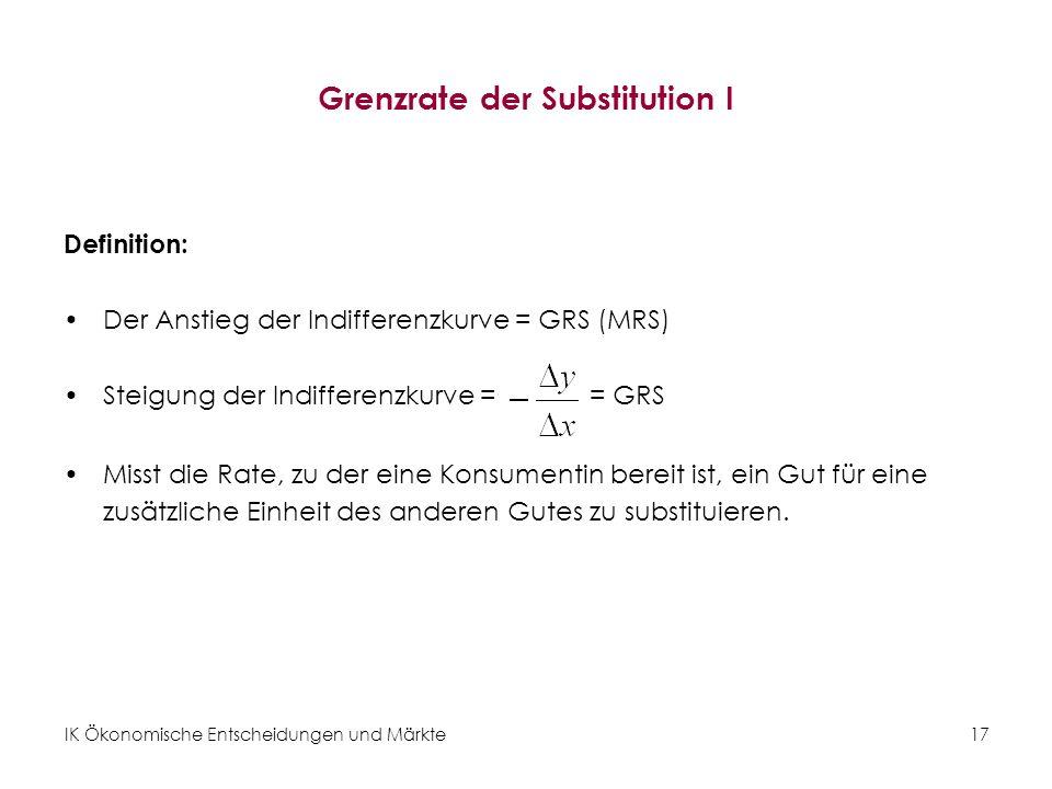 IK Ökonomische Entscheidungen und Märkte 18 Abnehmende Grenzrate der Substitution I Abbildung 11: Abnehmende Grenzrate der Substitution