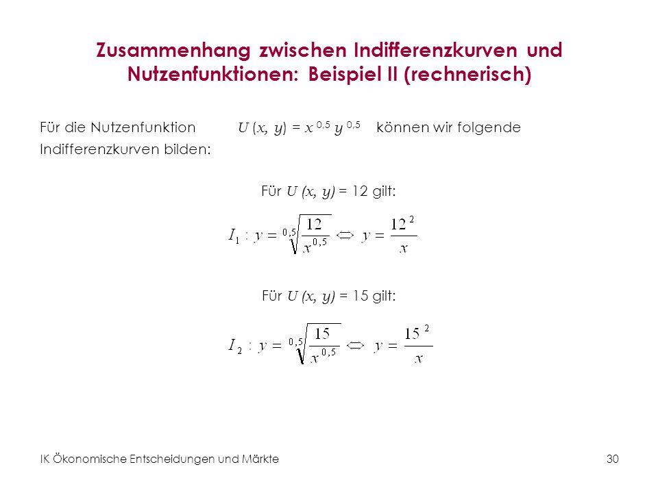 IK Ökonomische Entscheidungen und Märkte 31 Zusammenhang zwischen Indifferenzkurven und Nutzenfunktionen: Beispiel II (graphisch) Abbildung 15: Cobb-Douglas-Nutzenfunktionen U ( x, y ) = x 0,5 y 0,5