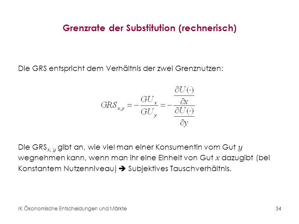 IK Ökonomische Entscheidungen und Märkte 35 Übung 5: Grenzrate der Substitution Cobb-Douglas-Nutzenfunktion: Güterbündel (3, 3) und GRS x, y Interpretation.