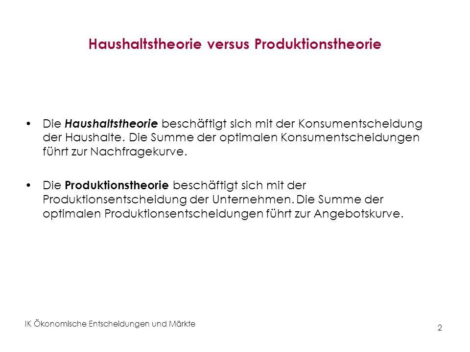 IK Ökonomische Entscheidungen und Märkte 3 Die Produktionstheorie Kapitel 6: Produktionstechnologie (Inputs Output) – Produktionsfunktion, Isoquanten – Skalenerträge Kapitel 7: Kosten der Produktion – Preise der Produktionsfaktoren, Isokostengerade – Kostenminimierende Inputkombination.