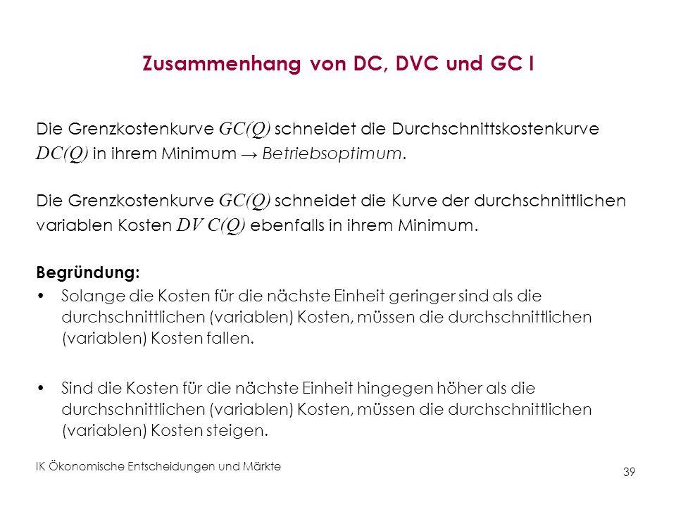 IK Ökonomische Entscheidungen und Märkte 39 Zusammenhang von DC, DVC und GC I Die Grenzkostenkurve GC(Q) schneidet die Durchschnittskostenkurve DC(Q)