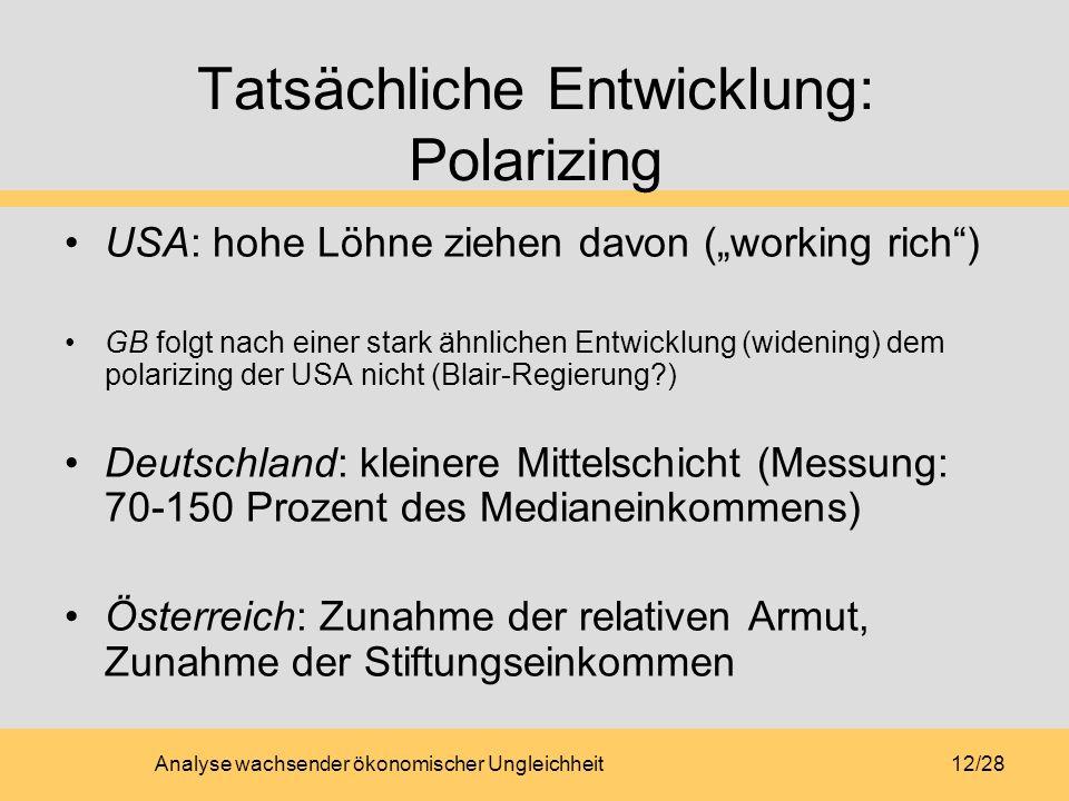 Analyse wachsender ökonomischer Ungleichheit12/28 Tatsächliche Entwicklung: Polarizing USA: hohe Löhne ziehen davon (working rich) GB folgt nach einer stark ähnlichen Entwicklung (widening) dem polarizing der USA nicht (Blair-Regierung?) Deutschland: kleinere Mittelschicht (Messung: 70-150 Prozent des Medianeinkommens) Österreich: Zunahme der relativen Armut, Zunahme der Stiftungseinkommen