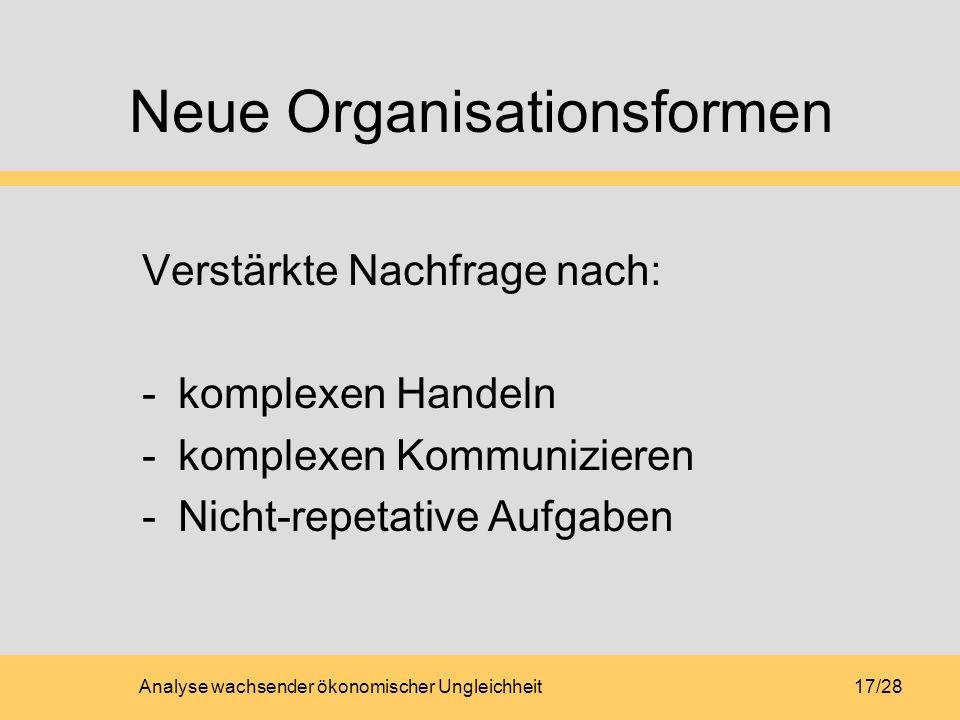 Analyse wachsender ökonomischer Ungleichheit17/28 Neue Organisationsformen Verstärkte Nachfrage nach: -komplexen Handeln -komplexen Kommunizieren -Nicht-repetative Aufgaben