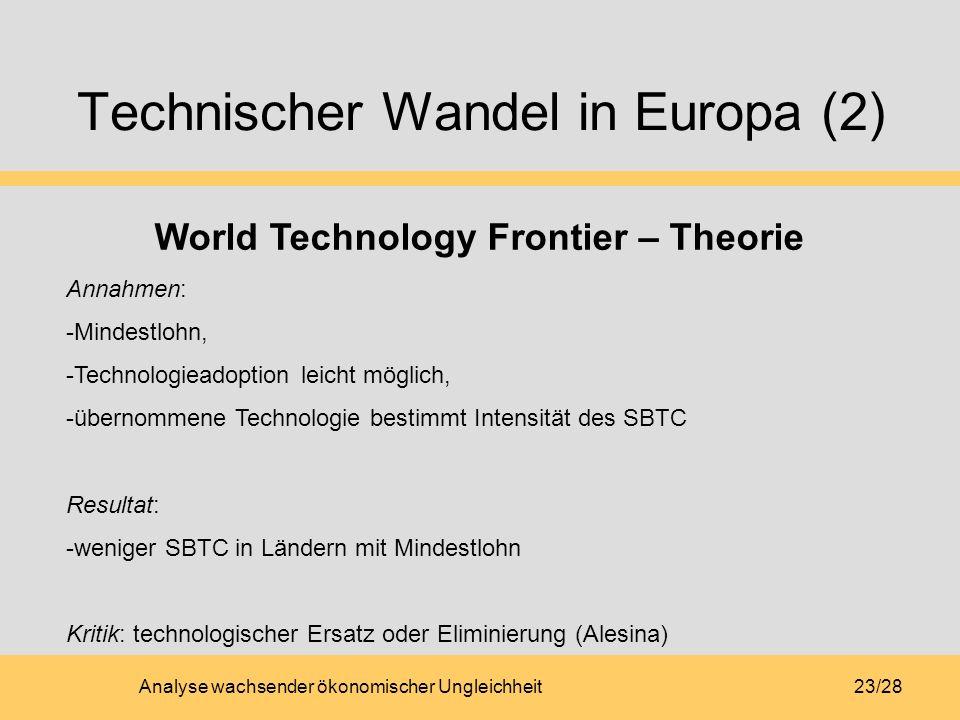Analyse wachsender ökonomischer Ungleichheit23/28 Technischer Wandel in Europa (2) World Technology Frontier – Theorie Annahmen: -Mindestlohn, -Techno