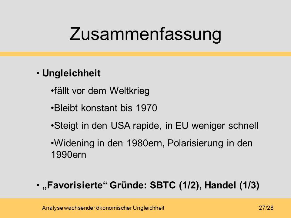 Analyse wachsender ökonomischer Ungleichheit27/28 Zusammenfassung Ungleichheit fällt vor dem Weltkrieg Bleibt konstant bis 1970 Steigt in den USA rapide, in EU weniger schnell Widening in den 1980ern, Polarisierung in den 1990ern Favorisierte Gründe: SBTC (1/2), Handel (1/3)
