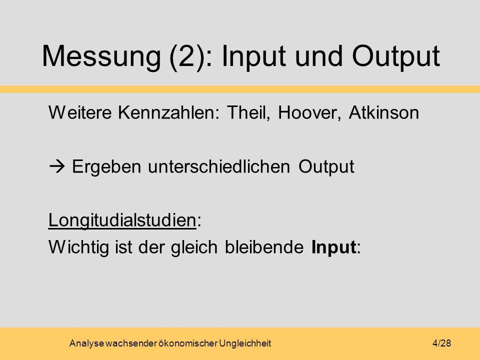 Analyse wachsender ökonomischer Ungleichheit4/28 Messung (2): Input und Output Weitere Kennzahlen: Theil, Hoover, Atkinson Ergeben unterschiedlichen Output Longitudialstudien: Wichtig ist der gleich bleibende Input: