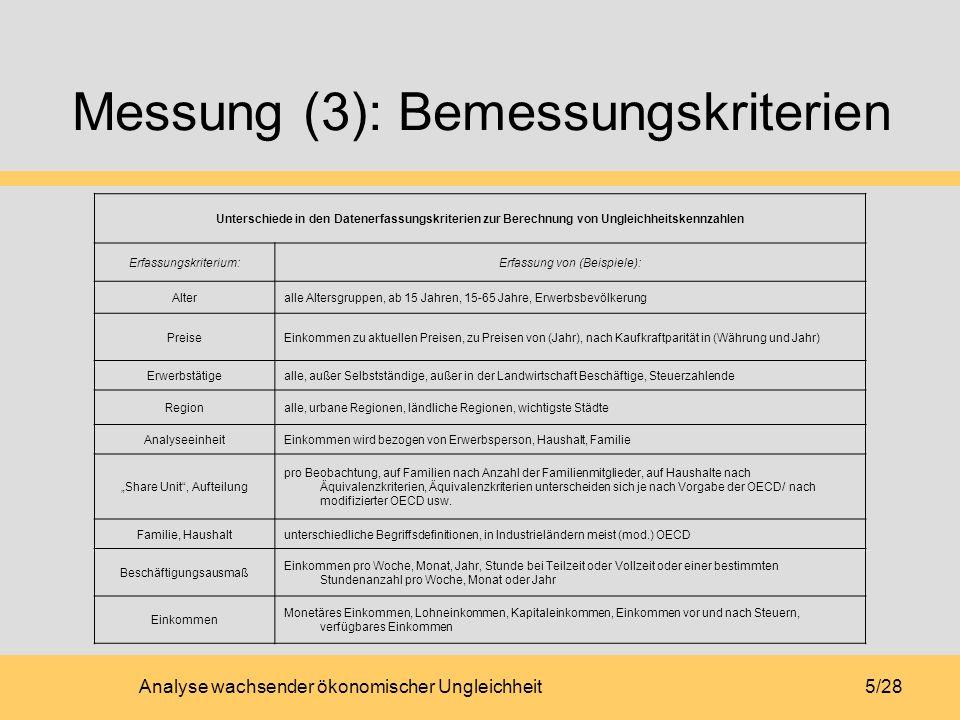 Analyse wachsender ökonomischer Ungleichheit5/28 Messung (3): Bemessungskriterien Unterschiede in den Datenerfassungskriterien zur Berechnung von Ungl