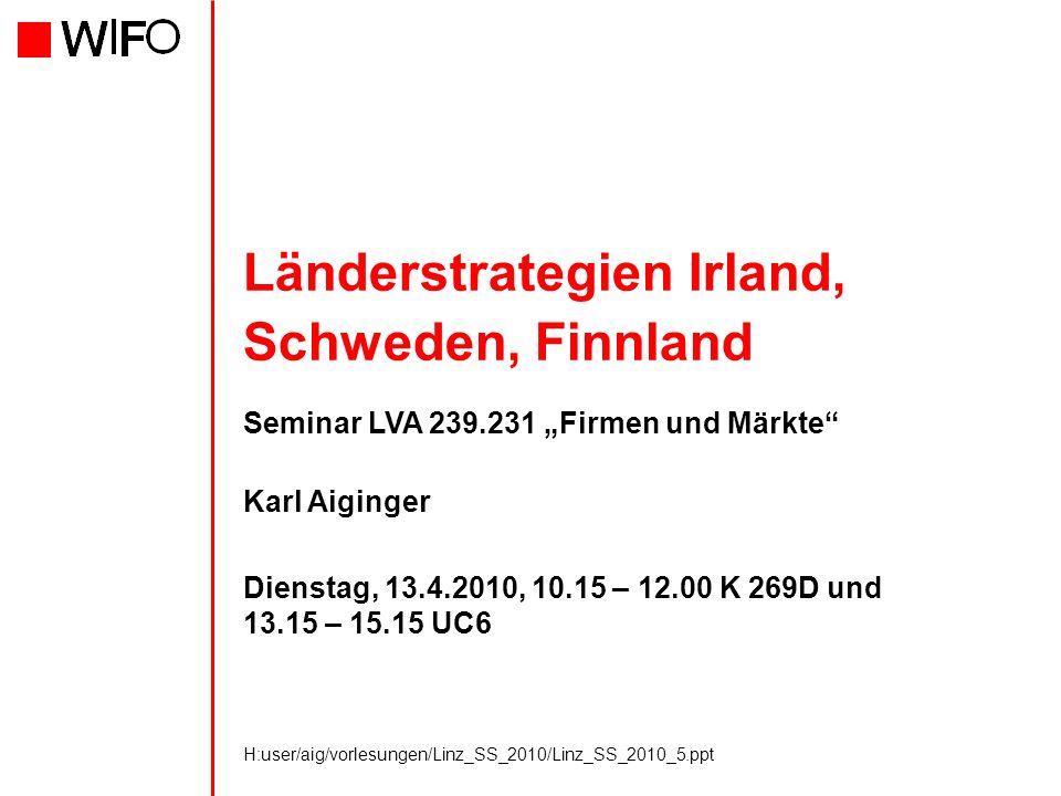 H:user/aig/vorlesungen/Linz_SS_2010/Linz_SS_2010_5.ppt Länderstrategien Irland, Schweden, Finnland Seminar LVA 239.231 Firmen und Märkte Karl Aiginger