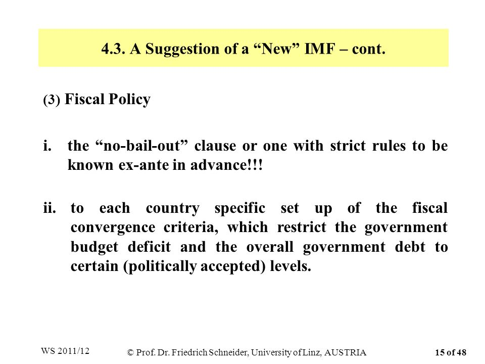 4.3. A Suggestion of a New IMF – cont. (3) Fiscal Policy i.the no-bail-out clause or one with strict rules to be known ex-ante in advance!!! ii.to eac