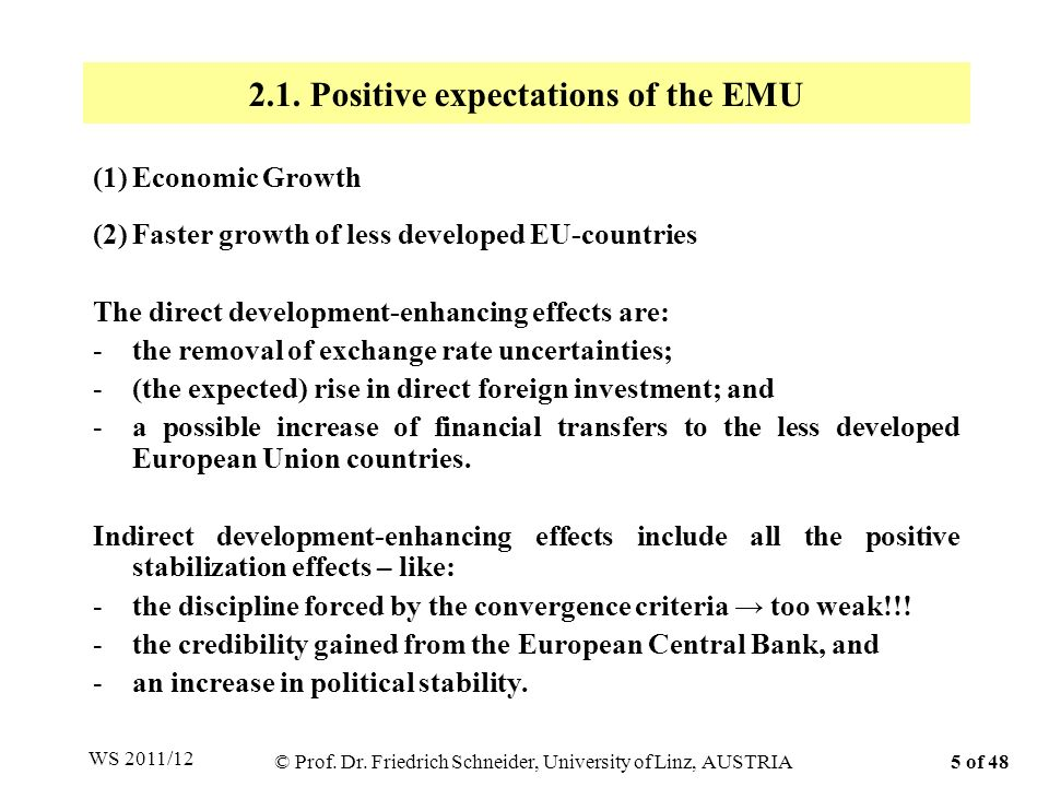 The negative expectations of the European Monetary Union are: (1)Higher inflation in the low inflation EU-countries, (2)Conflicts between EU-members because of large one-sided transfer payments, or how to fulfill the Maastricht convergence criteria, and (3)Bail out of almost bankrupt countries like Greece, Portugal and Ireland!!.