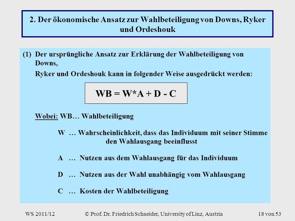 WS 2011/12© Prof. Dr. Friedrich Schneider, University of Linz, Austria18 von 53 2.