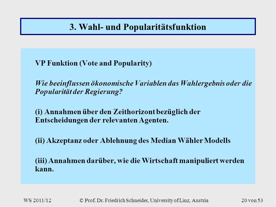 WS 2011/12© Prof. Dr. Friedrich Schneider, University of Linz, Austria20 von 53 3.