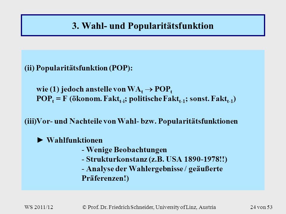 WS 2011/12© Prof. Dr. Friedrich Schneider, University of Linz, Austria24 von 53 3.
