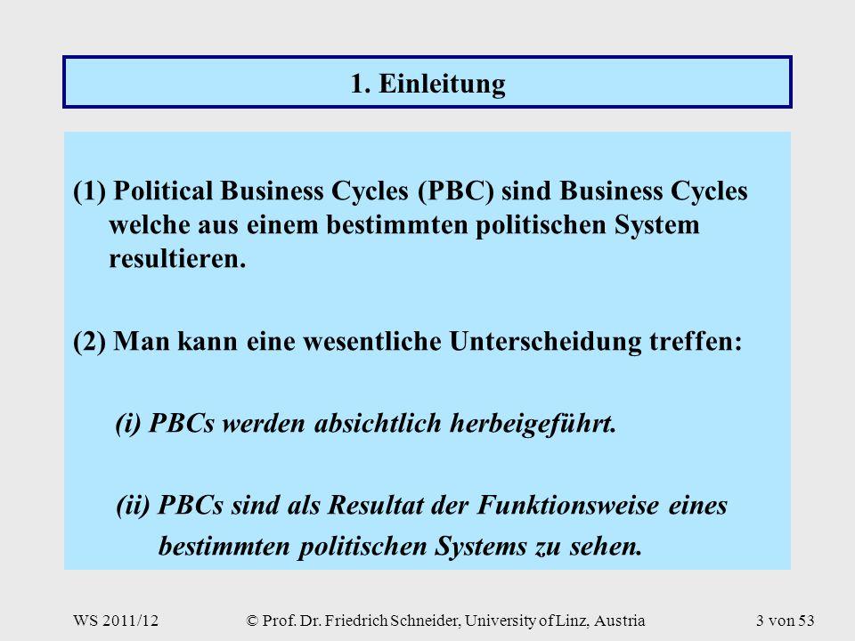 WS 2011/12© Prof. Dr. Friedrich Schneider, University of Linz, Austria3 von 53 1.