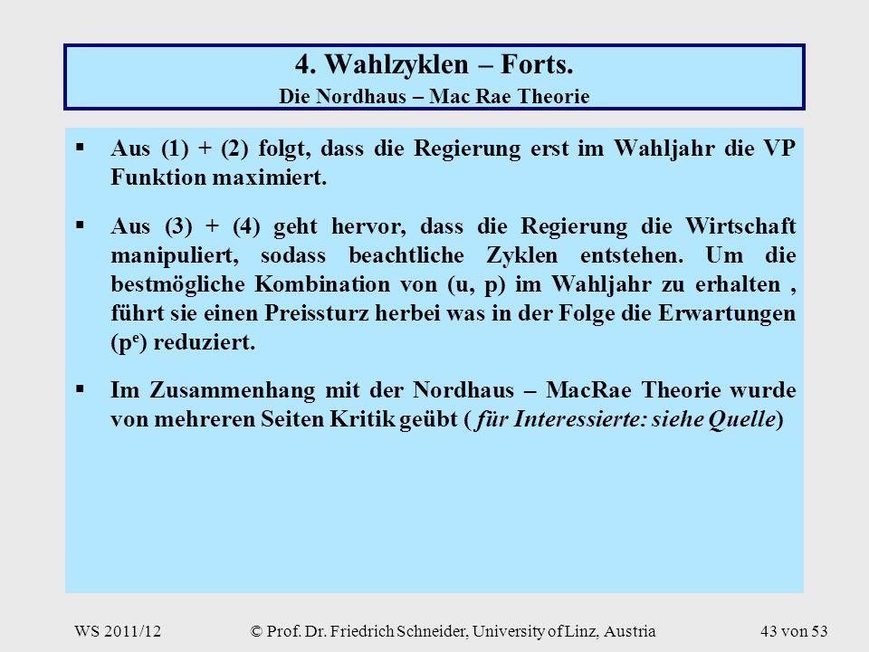 WS 2011/12© Prof. Dr. Friedrich Schneider, University of Linz, Austria43 von 53 4.