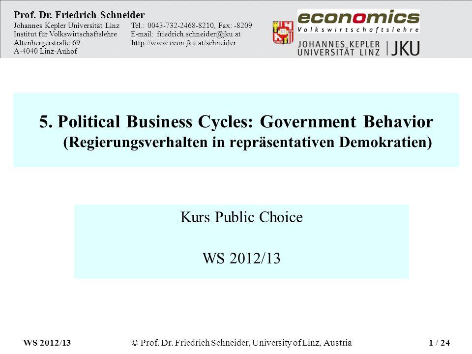 5. Political Business Cycles: Government Behavior (Regierungsverhalten in repräsentativen Demokratien) Kurs Public Choice WS 2012/13 Prof. Dr. Friedri