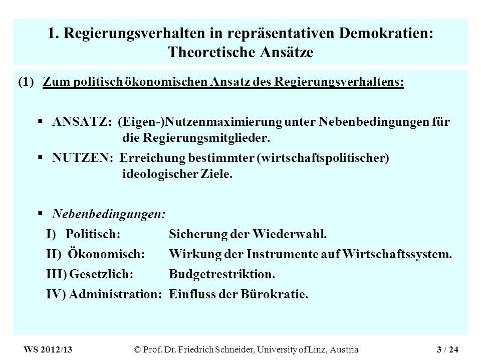 1. Regierungsverhalten in repräsentativen Demokratien: Theoretische Ansätze (1)Zum politisch ökonomischen Ansatz des Regierungsverhaltens: ANSATZ: (Ei