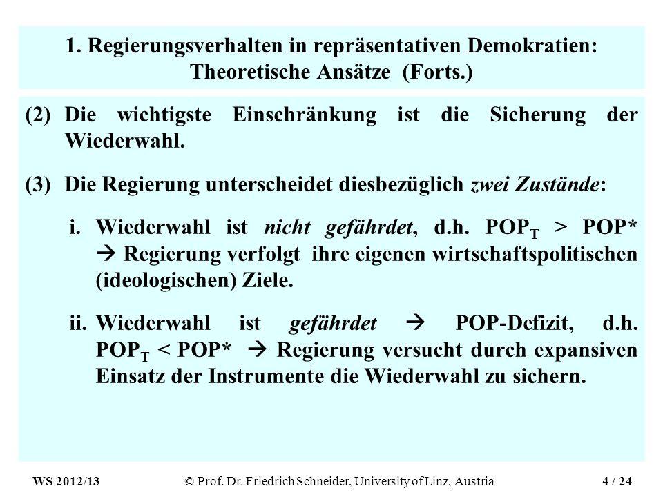 1. Regierungsverhalten in repräsentativen Demokratien: Theoretische Ansätze (Forts.) (2)Die wichtigste Einschränkung ist die Sicherung der Wiederwahl.