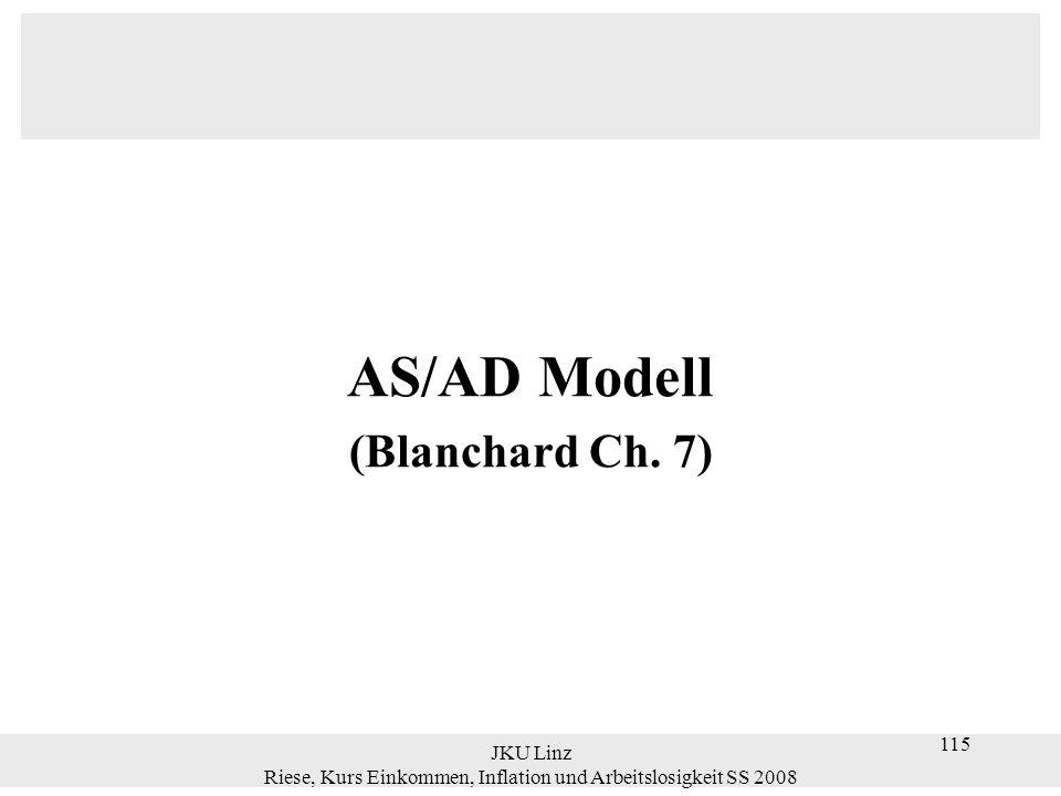 JKU Linz Riese, Kurs Einkommen, Inflation und Arbeitslosigkeit SS 2008 115 AS/AD Modell (Blanchard Ch. 7)