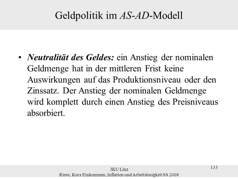 JKU Linz Riese, Kurs Einkommen, Inflation und Arbeitslosigkeit SS 2008 133 Geldpolitik im AS-AD-Modell Neutralität des Geldes: ein Anstieg der nominal