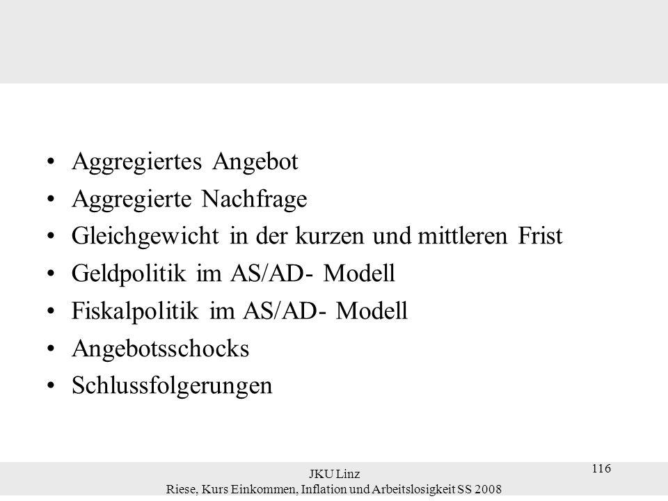 JKU Linz Riese, Kurs Einkommen, Inflation und Arbeitslosigkeit SS 2008 117 Aggregiertes Angebot aggregiertes Angebot: die aggregierte Angebotsfunktion zeigt den Zusammenhang von Y und Preisniveau P Y P.