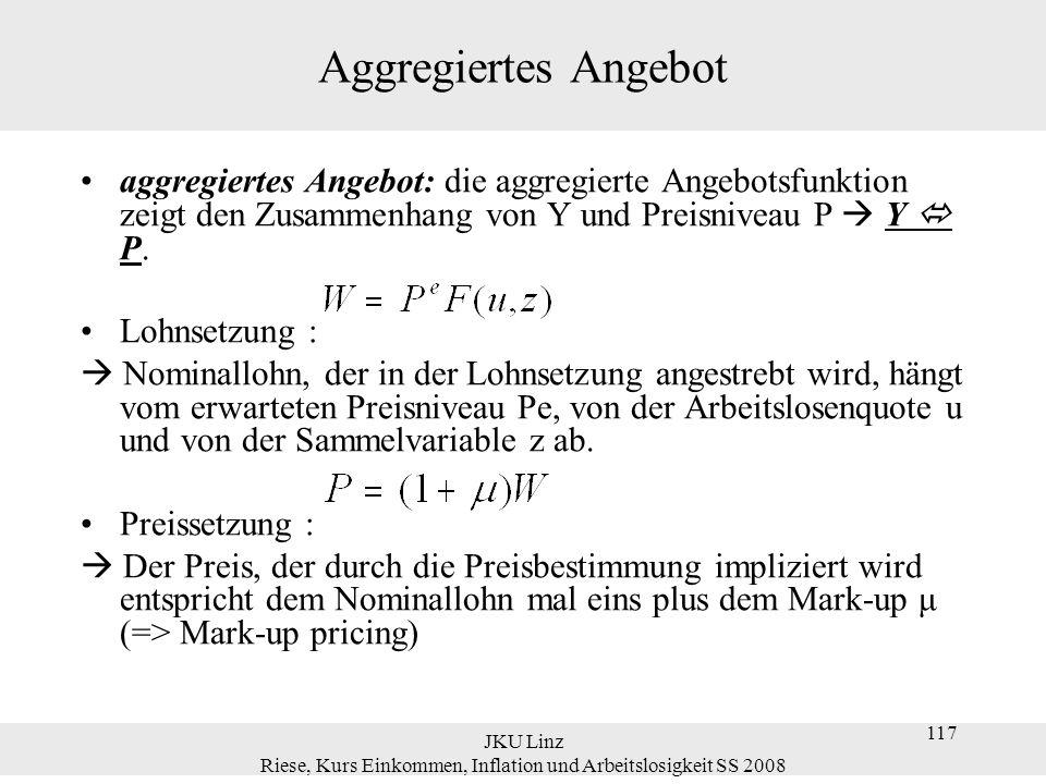 JKU Linz Riese, Kurs Einkommen, Inflation und Arbeitslosigkeit SS 2008 117 Aggregiertes Angebot aggregiertes Angebot: die aggregierte Angebotsfunktion
