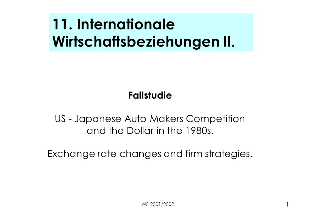 WS 2001/2002 1 11. Internationale Wirtschaftsbeziehungen II. Fallstudie US - Japanese Auto Makers Competition and the Dollar in the 1980s. Exchange ra