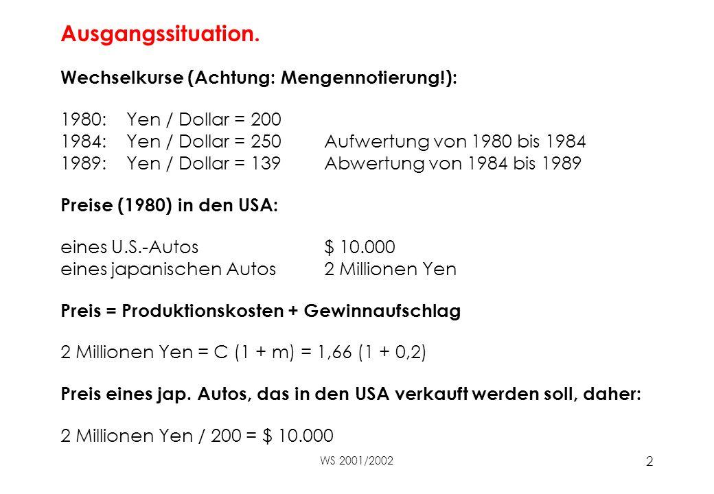 WS 2001/2002 2 Ausgangssituation.