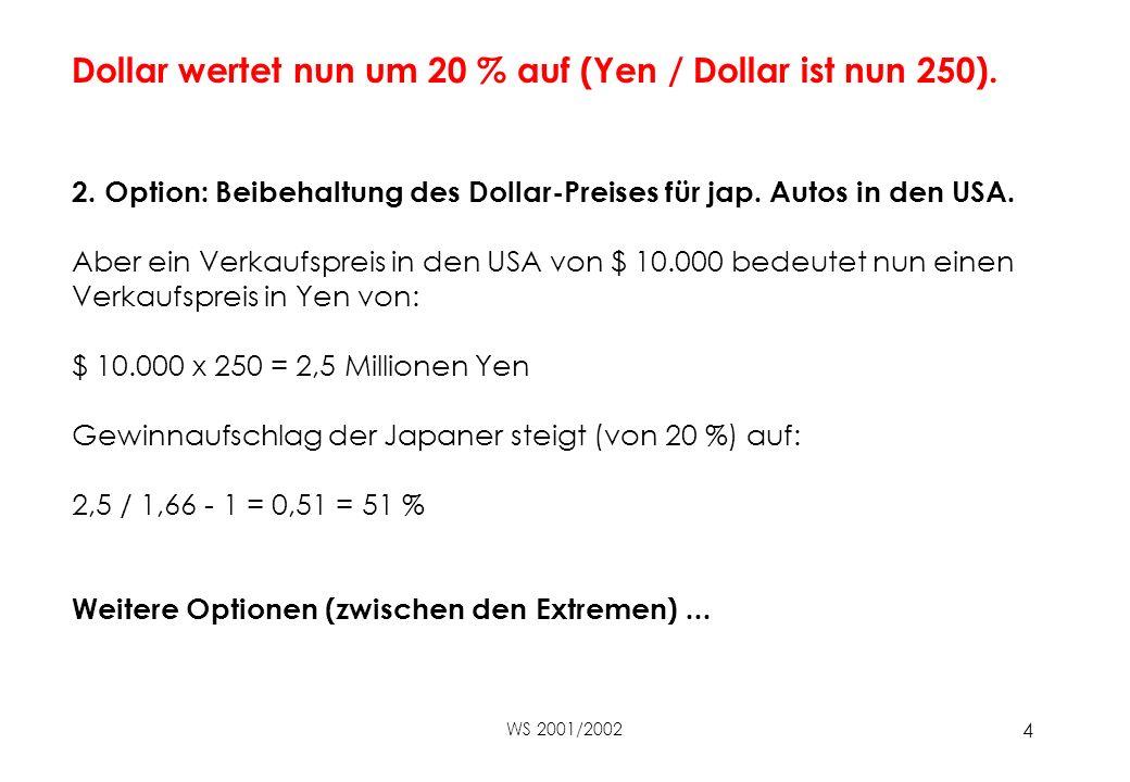 WS 2001/2002 4 Dollar wertet nun um 20 % auf (Yen / Dollar ist nun 250).