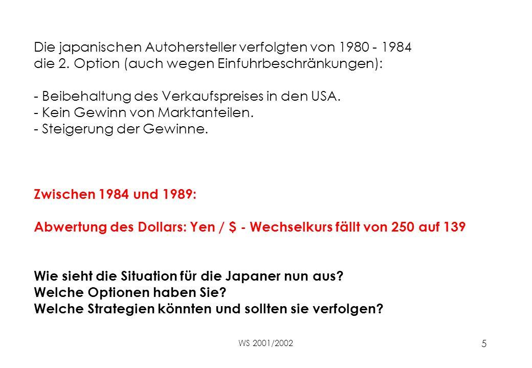 WS 2001/2002 5 Die japanischen Autohersteller verfolgten von 1980 - 1984 die 2.