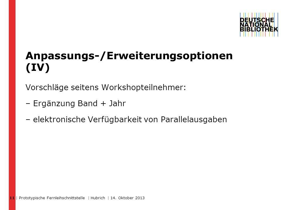 Anpassungs-/Erweiterungsoptionen (IV) Vorschläge seitens Workshopteilnehmer: – Ergänzung Band + Jahr – elektronische Verfügbarkeit von Parallelausgaben | Prototypische Fernleihschnittstelle | Hubrich | 14.