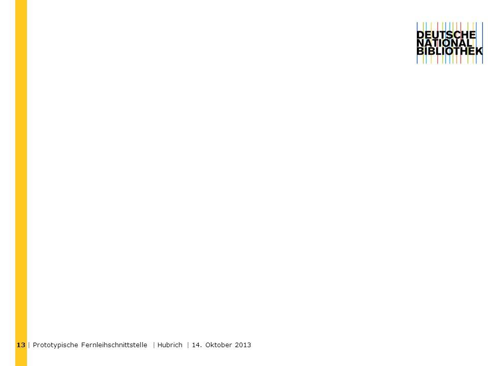 | Prototypische Fernleihschnittstelle | Hubrich | 14. Oktober 2013 13