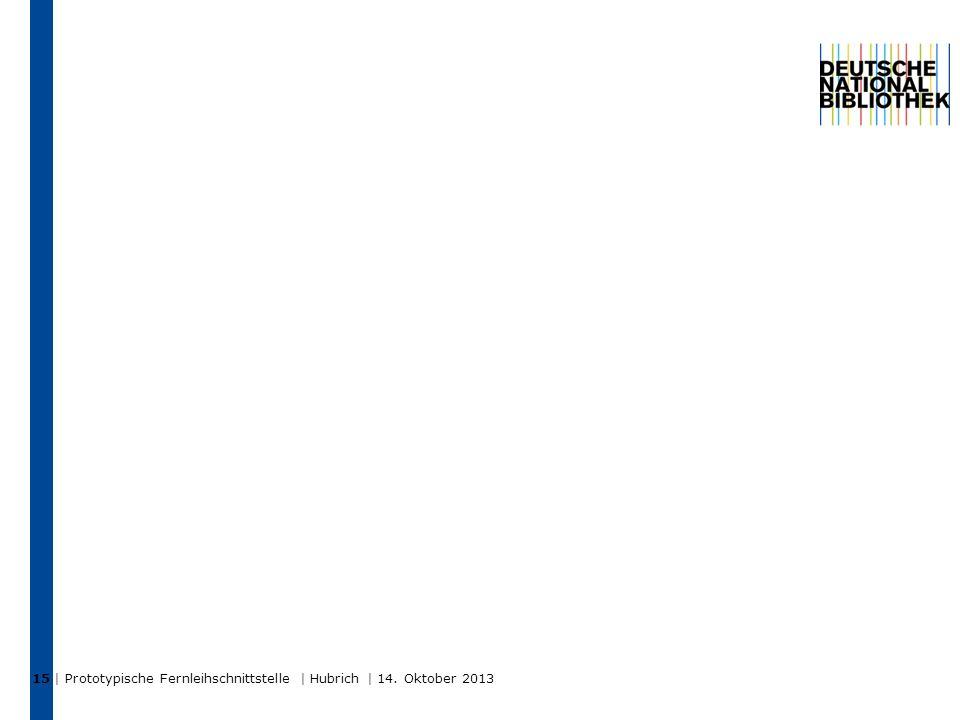 | Prototypische Fernleihschnittstelle | Hubrich | 14. Oktober 2013 15