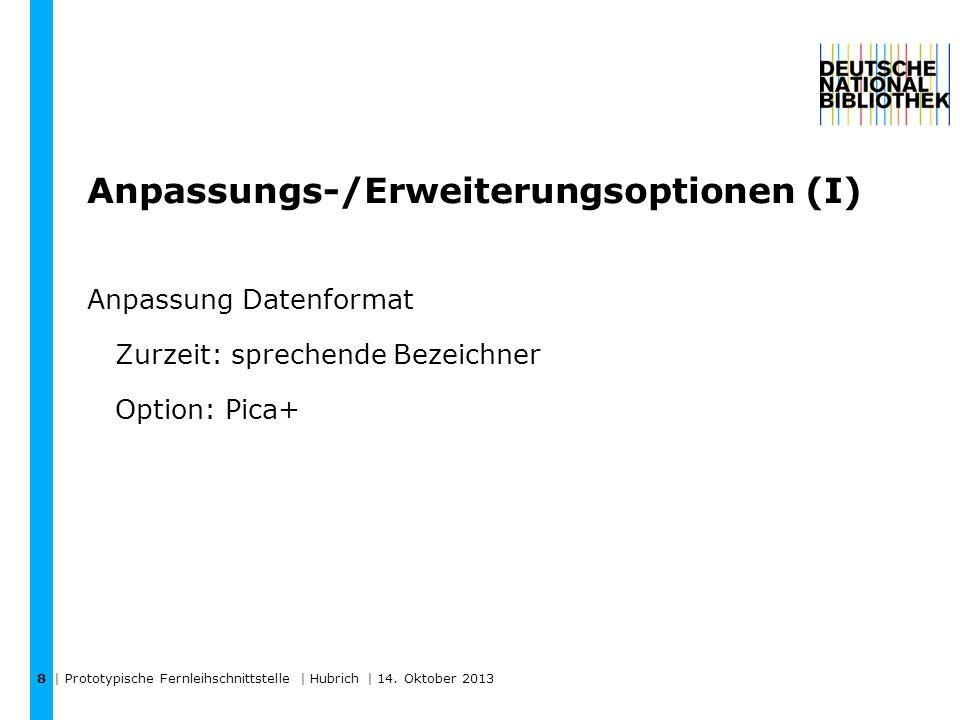 Anpassungs-/Erweiterungsoptionen (I) Anpassung Datenformat Zurzeit: sprechende Bezeichner Option: Pica+ | Prototypische Fernleihschnittstelle | Hubrich | 14.