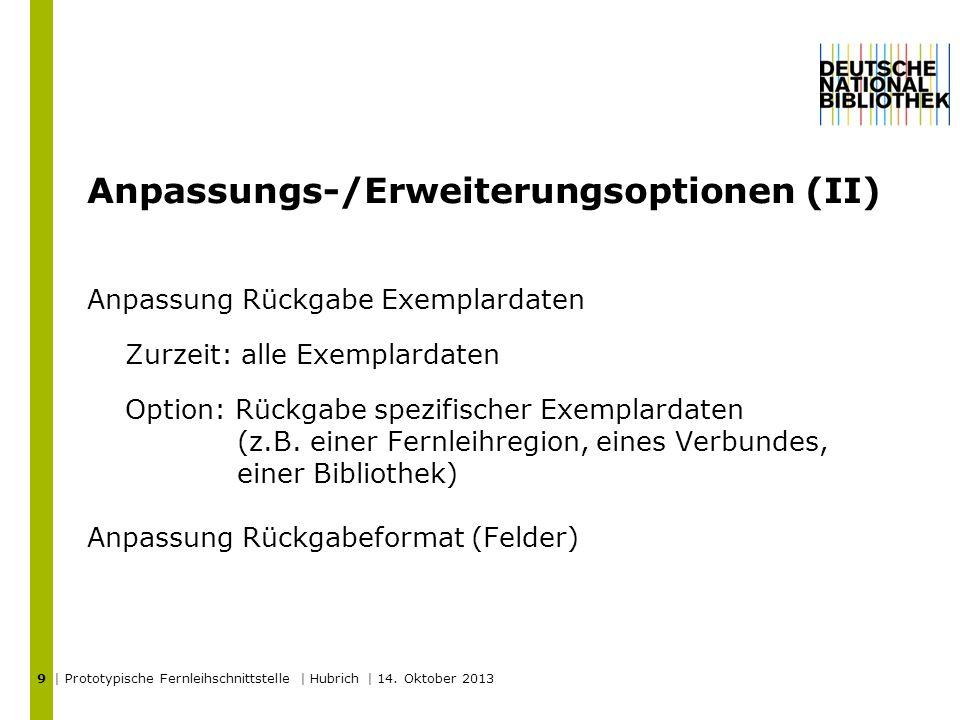 Anpassungs-/Erweiterungsoptionen (II) | Prototypische Fernleihschnittstelle | Hubrich | 14.