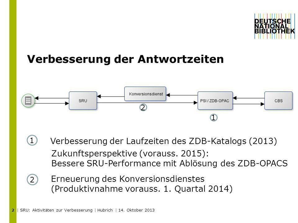 Verbesserung der Antwortzeiten | SRU: Aktivitäten zur Verbesserung | Hubrich | 14. Oktober 2013 2 1 2 Erneuerung des Konversionsdienstes (Produktivnah