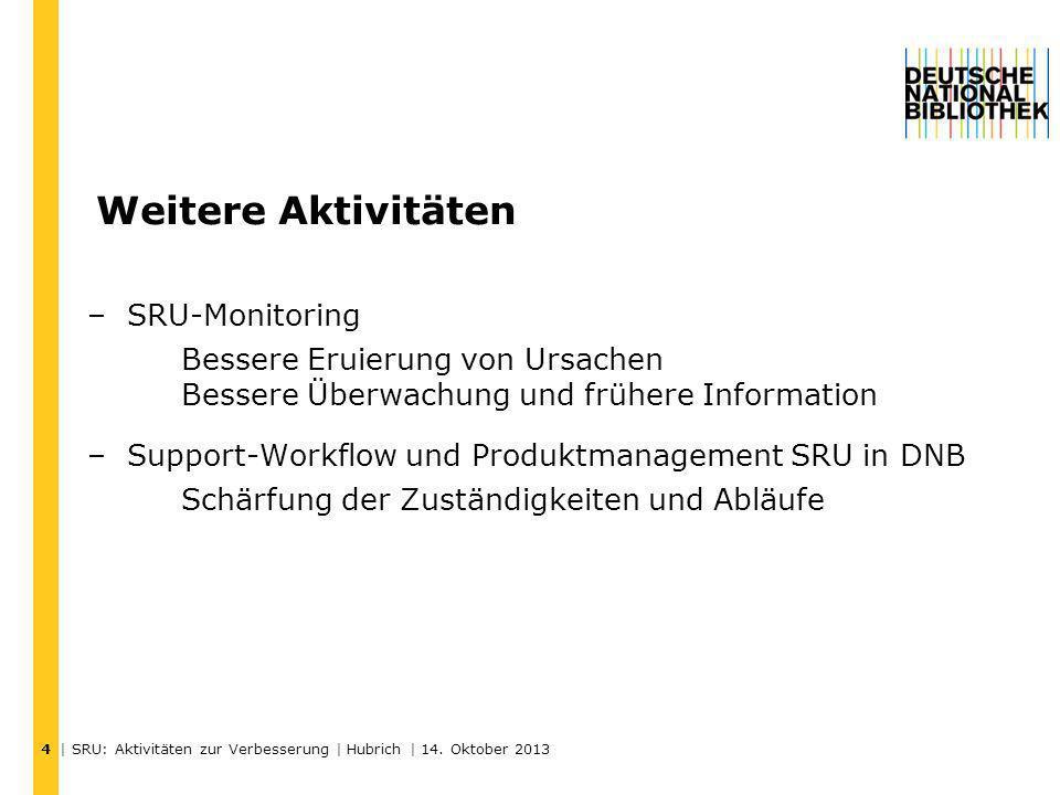 Weitere Aktivitäten | SRU: Aktivitäten zur Verbesserung | Hubrich | 14. Oktober 2013 4 –SRU-Monitoring Bessere Eruierung von Ursachen Bessere Überwach