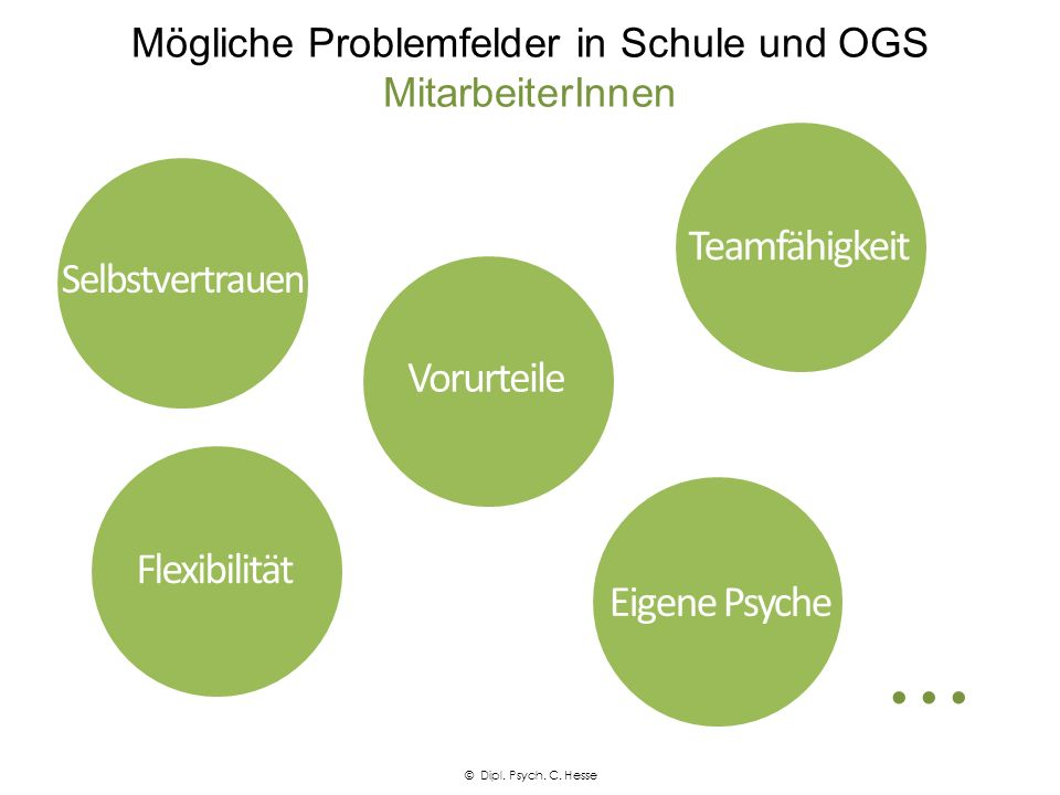 Mögliche Problemfelder in Schule und OGS MitarbeiterInnen Selbstvertrauen Teamfähigkeit Flexibilität Eigene Psyche Vorurteile © Dipl. Psych. C. Hesse