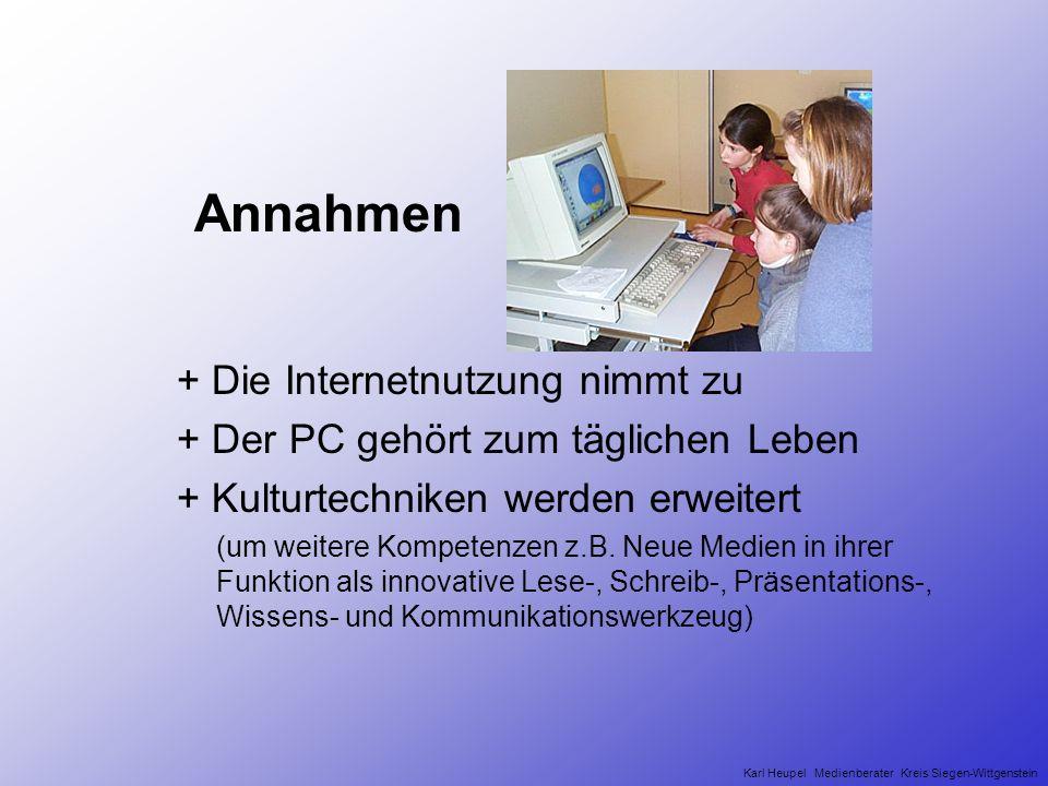 Annahmen + Die Internetnutzung nimmt zu + Der PC gehört zum täglichen Leben + Kulturtechniken werden erweitert (um weitere Kompetenzen z.B.